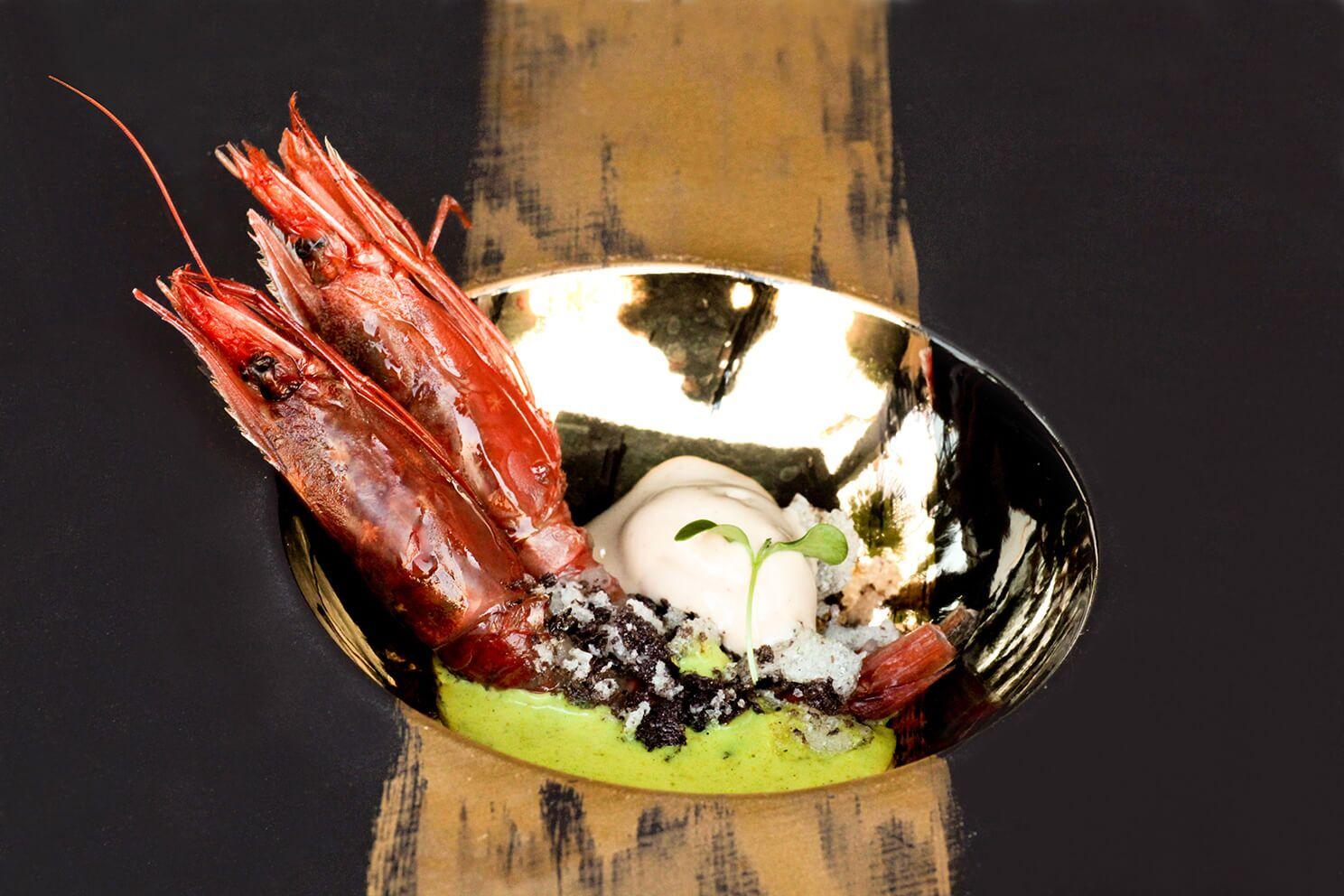 secondo piatto di gamberi